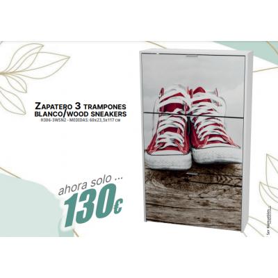 Zapatero 3 tra mpones blanco /wood sneakers